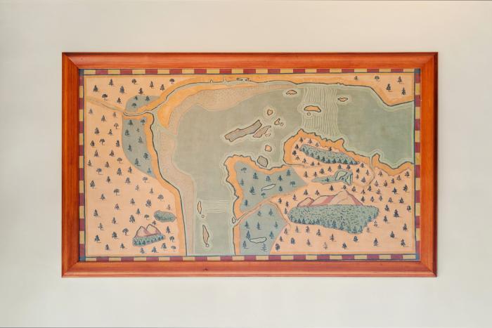 """Paul-Émile Borduas, """"Carte du site de Montréal par Champlain en 1611"""", 1931."""