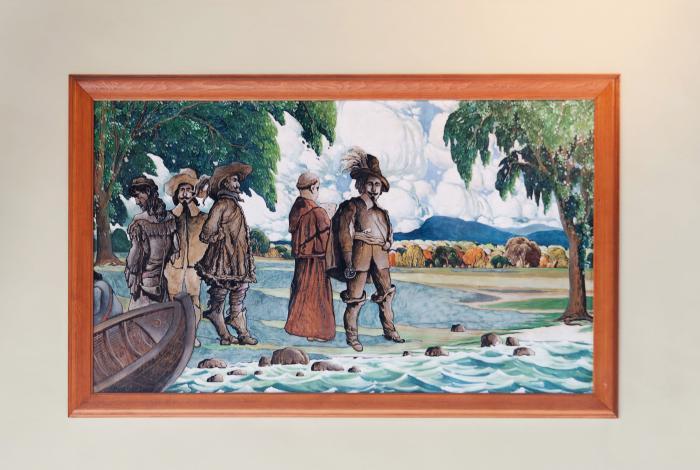 """Marc-Aurèle Fortin, """"Champlain explore le site de Montréal en 1603"""", 1931."""