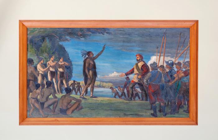 """Adrien Hébert, """"Jacques Cartier atterrit à Hochelaga en 1535"""", 1931."""