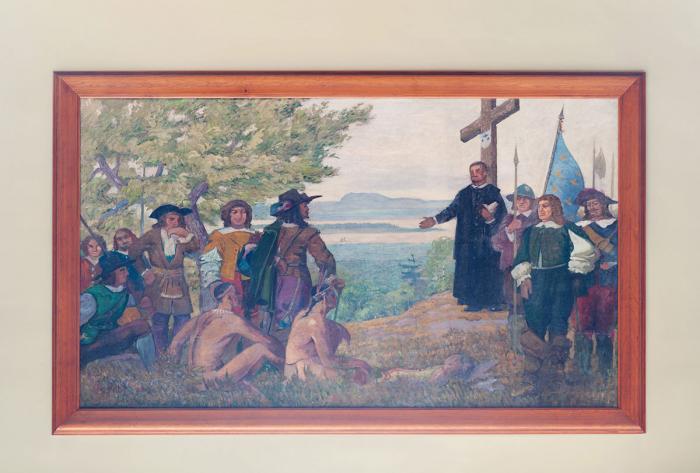 """Robert Pilot, """"Maisonneuve érige une croix sur la montagne"""", 1931."""