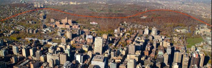Le flanc sud correspond au versant sud de la colline du Mont-Royal. Il est orienté vers le centre-ville. Photographie aérienne.