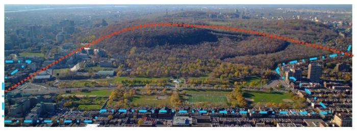 Le flanc est correspond au versant est de la colline du Mont-Royal. Il est orienté vers le Plateau Mont-Royal. Photographie aérienne.