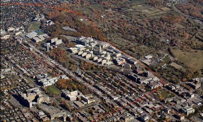 Le flanc nord correspond au versant nord de la colline Outremont. Il est en relation avec Outremont et Côte-des-Neiges. Photographie aérienne.