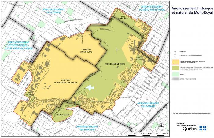 Limites administrative du site patrimonial du Mont-Royal.