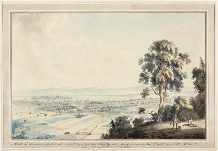 """""""Montréal vu de la montagne"""". Dès la Conquête, les peintres gravissent la montagne et commencent une longue tradition de représenter la ville du point de vue de la montagne. Aquarelle, plume et encre sur papier vélin."""