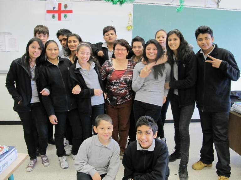 Brigitte Roy et sa classe